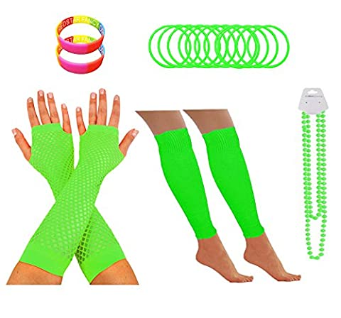 REDSTAR FANCY DRESS® Neon 1980s Party Outfit - Leg Warmers Fishnet Gloves Necklace Beads Gummies Neon Wristband (Green)