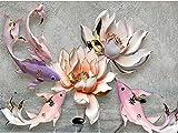 Shukun carta da parati Parete cinese fresca d'annata cinese del fondo della TV del pesce di Lotus di nuova impronta cinese