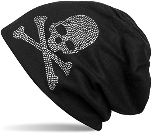 styleBREAKER klassische Beanie Mütze mit Totenkopf Strass Applikation, Unisex 04024034, Farbe:Schwarz;Materialart:warm
