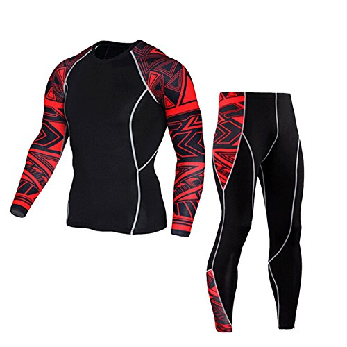ESAILQ Mann Workout Leggings Fitness Sport Gym Laufen Yoga Athletic Pants + Anzuganzug(XXX-Large,Rot)