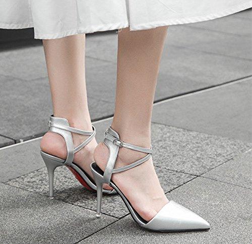 Aisun Damen Lack Kunstleder Spitze Zehen Geschlossen Knöchelriemchen Stiletto Pumps Sandale Mit Schnalle Silber