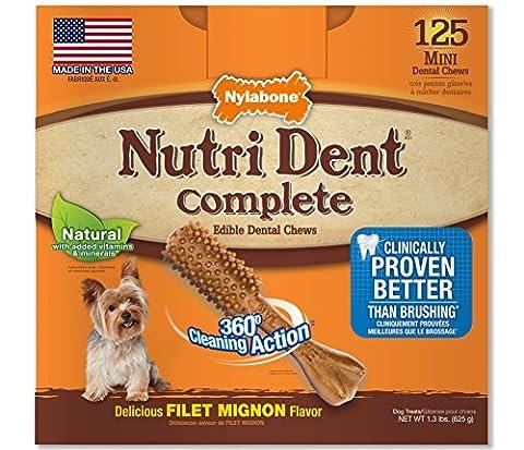 Nylabone Nutri Dent Complete Dog Treat Bones Petite Filet Mignon