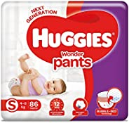 Huggies Wonder Pants Small (S) Size Baby Diaper Pants, 86 count, with Bubble Bed Technology for comfort