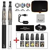 Salcar® Cigarrillo electrónico eGo-T CE4 con doble kit de iniciación, batería recargable de 1100mAh, Vaporizador de 1,6ml + 5x 10ml set E-Líquido, 0,00 mg Nicotina ( nergo+blanco)