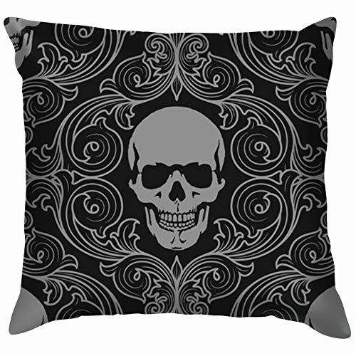 vintage cap Skulls Skull Illustrations Clip Art Throw Pillow Case Cushion Cover Pillowcase Watercolor for Couch 18X18 Inch