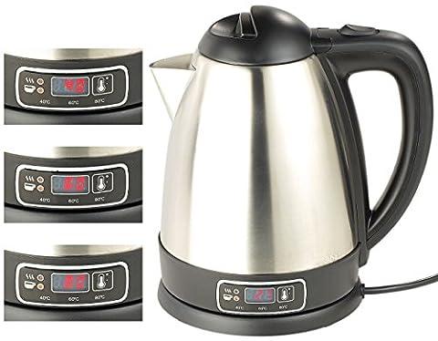 Rosenstein & Söhne Digitaler Wasserkocher: Edelstahl-Wasserkocher mit Temperatur-Wahl, 1,8 Liter, 1.800 Watt (Wasserkocher mit Temperaturregler)