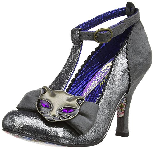 Irregular Choice - Scarpe con cinturino a T, Donna Grigio (Grey)
