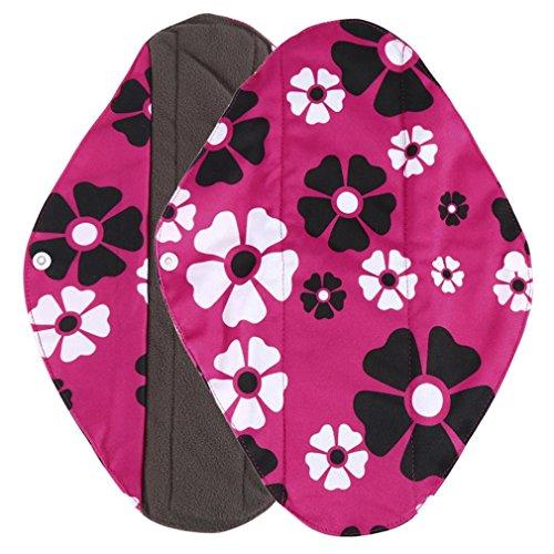 Tefamore Waschbare Blumen Print Slipeinlagen,Wiederverwendbare Bambus Stoff Waschbar Menstruation Pad Mama Sanitär Handtuch für Light Harnabgang/ Hygienische Binden /Light Menstruation (M, D) D Kohle