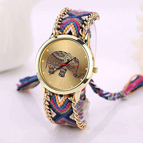 Zygeo - Cuero Famoso Mujeres de los Relojes de diseño de Moda Elefante Pulsera Relojes de Pulsera Relojes de señora Casual Reloj Relojes para Mujer [D]