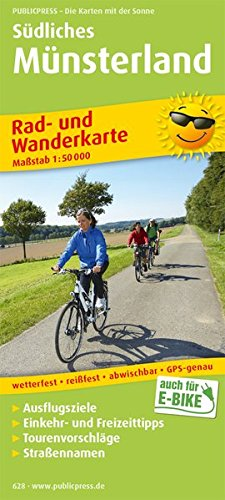 Südliches Münsterland: Rad- und Wanderkarte mit Ausflugszielen, Einkehr- & Freizeittipps, wetterfest, reißfest, abwischbar, GPS-genau. 1:50000 (Rad- und Wanderkarte / RuWK)