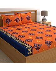Home Ecstasy 100% Cotton Bedsheets for Double Bed with 2 Pillow Covers, 140TC Bedsheet