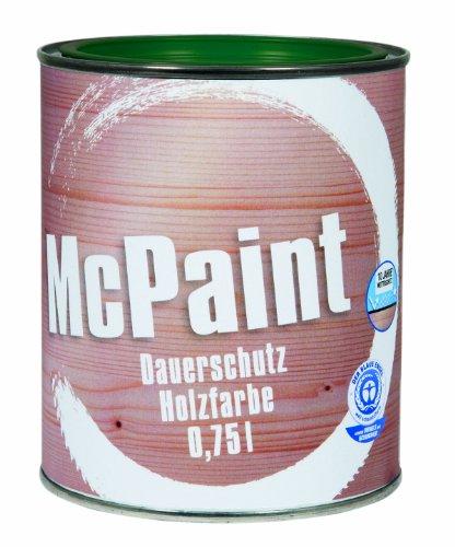 McPaint Wetterschutzfarbe – Holzfarbe für außen auf Acryl Basis mit langanhaltendem Wetterschutz, PU-verstärkt, Möbellack, seidenmatt, 0,750L, Moosgrün - Weitere Farbtöne...