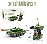 Jiada Deformation Combat Tank Transformer Robot Toy with Light, Music and Bump Function