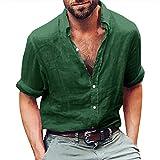 Herren Leinen Langarmshirt Henley Freizeithemd Regular Fit Kragenloses Shirt