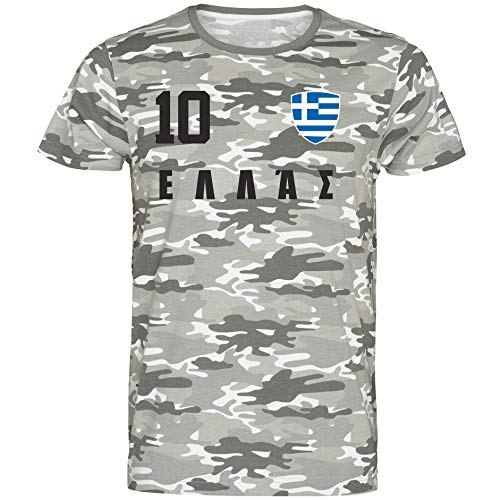 Nation Griechenland T-Shirt Camouflage Trikot Style Nummer 10 Army (M)