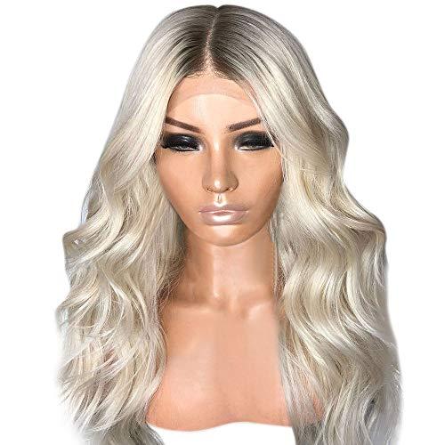 (Yuan Sexy Perücke, Gradient Blonde Party Perücken Langes lockiges Haar Mischfarben Synthetische Perücke)