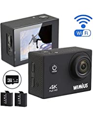 WiMiUS 4K 16MP Action Camera Waterproof WiFi 1080p 60fps 2.0'' LCD Screen 170° Wide Angle Ultra HD Sports Camcorder Helmet Cam Skiing