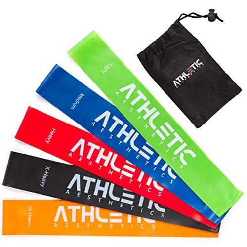 ATHLETIC AESTHETICS Premium Loop Bands Set [5 Fitnessbänder mit praktischem Beutel + Übungsanleitung als PDF] - Trainingsbänder für Gymnastik, Fitness und Yoga - Gymnastikbänder / Widerstandsbänder Athletic-set