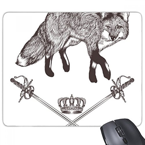 beatChong Fox Schwert Crown Tier Schwarz Weiß Barock Rectangle Griffige Gummi Mousepad Spiel...