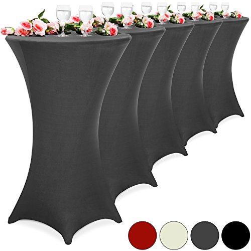 5er Set Stehtischhusse Tischhusse Husse Stehtisch Bistrotisch Tisch verschiedene Größen Ø 60/70/80 cm - Farbauswahl/(Ø 70 cm, weiß)