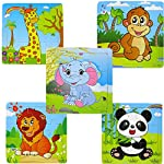 Vivianu Wooden Animals Elephant Giraffe Monkey Lion Panda Set, 5PCS Kids Puzzles Toys for 2-4 Ages,9 Pieces Learning Toys