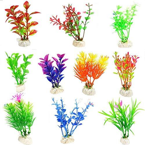 Depory Kunstpflanze für Aquarien, Schildkröte, Aquarium, Dekoration, Kunstpflanzen, zufällige Farbauswahl, 10 Stück