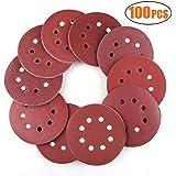Discos de lija lijar lijas de pulir Disco de papel para lijadoras excéntricas - ø 125 mm 8 agujeros - 100 Pieza Grano cada 10 x 40/60/80/100/120/180/240/320/400/800