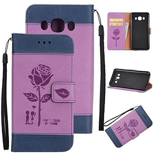 Dual Color Matching Premium PU Leder Flip Stand Case Cover mit Card Cash Slots und Lanyard für Samsung Galaxy J310 ( Color : Blue ) Purple