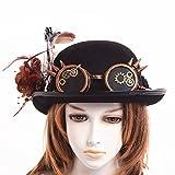 BLESSUME 1Stk Jahrgang Steampunk Hut Gefieder Gang Brille Gotisch Hut Viktorianisch Cosplay