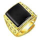 PAURO Herren 18K Gold Plated Vintage Black Achat Edelstein Ring, Verstellbar