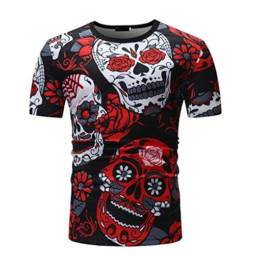 Camisetas Calaveras Hombre LHWY, Camisetas De Cuello Redondo con...