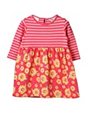 Beebay Infant-girl 100% Polyester Pink Stripe & Sunflower Printed Dress (Pink Stripe,6-12 Months)