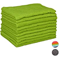 Relaxdays Set of 10 Microfibre Cleaning Cloths, 40x30 cm; All-Purpose Cleaning Supply, Washable, Green preiswert