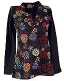 Guru-Shop Besticktes Langarmshirt mit V-Neck Flower Power Hippie Chic, Damen, Braun/bunt, Baumwolle, Size:S (36), Pullover, Longsleeves & Sweatshirts Alternative Bekleidung