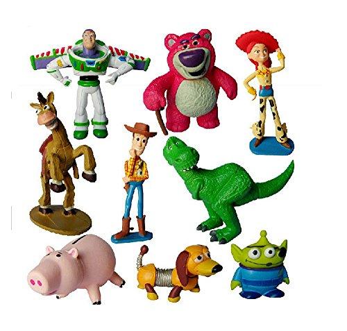 (DS FIGUREN SET TOY STORY 3 *9 STÜCK* ca. 3-9 cm Buzz Lightyear Woody Green Man Action Jessie Lotso Ken Kawii Hamm)