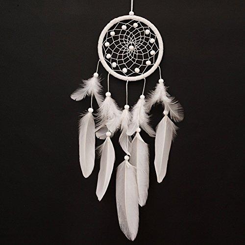 La Cabina Indien Dream Catcher Handemade Attrape-rêves Capteur de Rêves en Plumes Mystérieux - Blanc