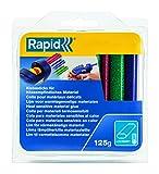 Rapid, 40108462, Bâtons de colle thermofusible, Couleur, Rouge, bleu, vert pailletés, Ovale