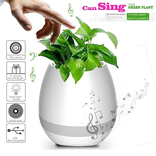 hmilydyk Smart Touch Musik Blumentopf Bluetooth kabelloser Lautsprecher Piano Musik Spielen Pflanze Blumentopf Mehrfarbig LED Licht Blumentopf, rund für Office Home Decor
