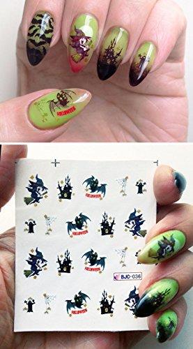 Halloween nail art water decals trasferisce pipistrelli di zucche ragnatela