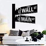 Vinyl Wandtattoo Straßenschilder Wall Street Wandaufkleber Abnehmbare Wandkunst Wandhauptdekor New York Zimmer 59x57 cm