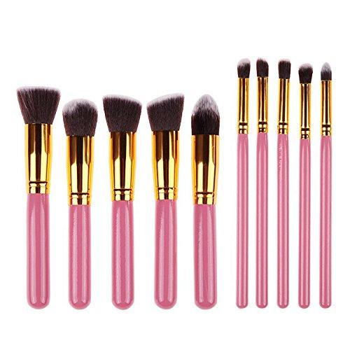 Sayue 10Pcs Kit de Pinceaux de Maquillage Set de Cosmétique Professionnel, Rose Or