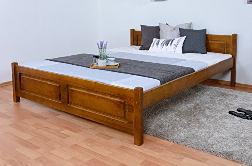 Doppelbett/Gästebett Kiefer massiv Vollholz Eichefarben Rustikal 77, inkl. Lattenrost - 160 x 200 cm (B x L)