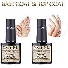 Top et Base Coat Gel - Y&S Vernis Semi Permanent à Ongles UV LED Soak Off Top Base Gel Lot 2 x 10ml