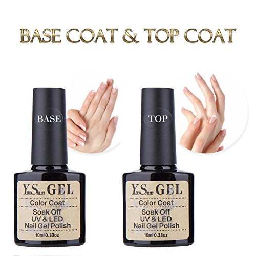 Y&S UV LED Soak Off Gel Nail Polish Top Coat and Base Coat Set - 10ml Each