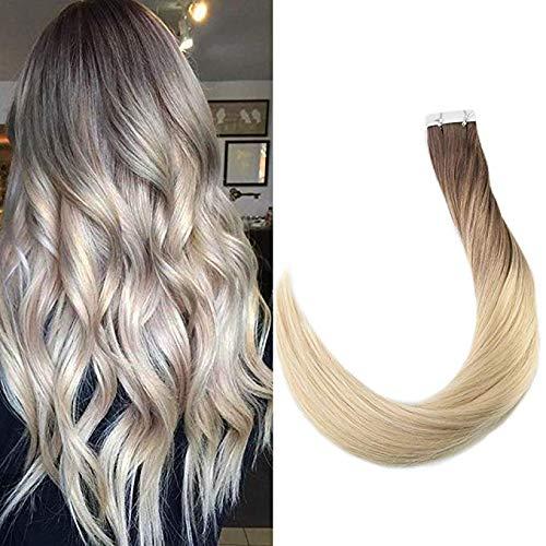 Full Shine 14 Zoll 20 Stück Dark Roots Ombre Haarfarbe # 7B Fading zu # 613 Blonde Dip Dye Remy Tape Doppelseitig für Erweiterungen Balayage Extensions Set