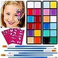 Lictin Truccabimbi Kit,Face Paint,Kit per La Pittura del Viso per Bambini,24 Colori,50 Stencil,6 Pennelli Professionali