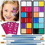 Lictin Truccabimbi Kit,Face Paint,Kit per La Pittura del Viso per Bambini,24 Colori,30 Stencil,6 Pennelli Professionali