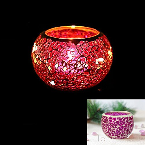 Mosaic Glass Candle Holder Handmade Vintage Tea Light Holders Romantic Candlestick Holder for Home Decoration Wedding Party Gift (Pink)