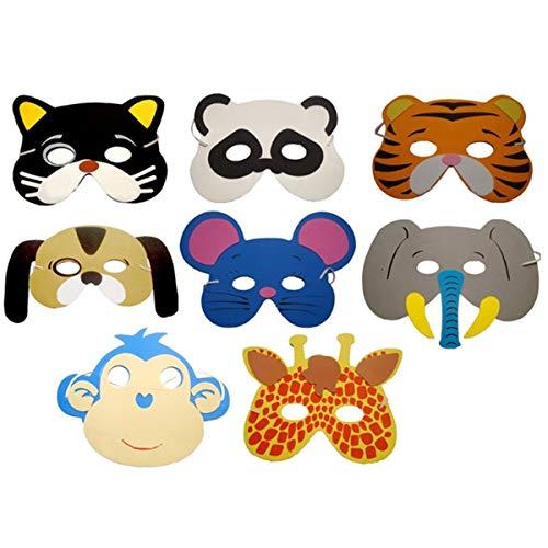 Chennie 12pcs de Dibujos Animados de Animales máscara niños Fiesta de cumpleaños decoración Vestir Zoo Selva máscara