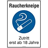 """Hinweisschild für die Gastronomie """"Raucherkneipe Zutritt erst ab 18 Jahre"""", Alu, 16,5x23 cm"""